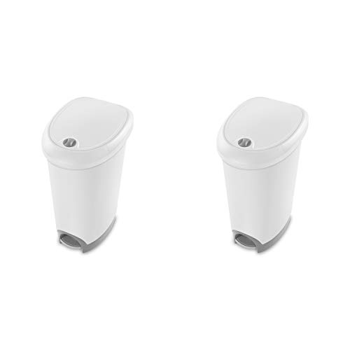 Sterilite 10738002 12.6 Gallon Locking StepOn Wastebasket, White...