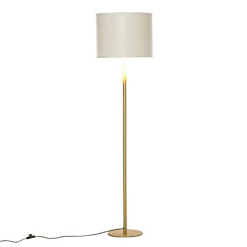HOMCOM Stehlampe Stehleuchte für Wohnzimmer Schlafzimmer Büro, Weiß Metall, Poly Baumwolle, Ø40 x 160H cm