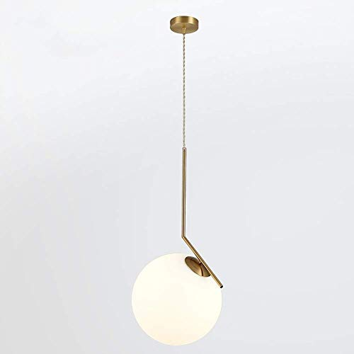 Hanger Licht, Modern Glas Globe Keuken Eiland Hanger Licht, Mini Melk Wit Matglas Vorm E27/E26 Base Geborsteld Messing Woonkamer Kroonluchter