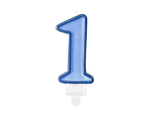 PartyDeco Candela Numero 1, Colore Azzurro, SCU1-1-001