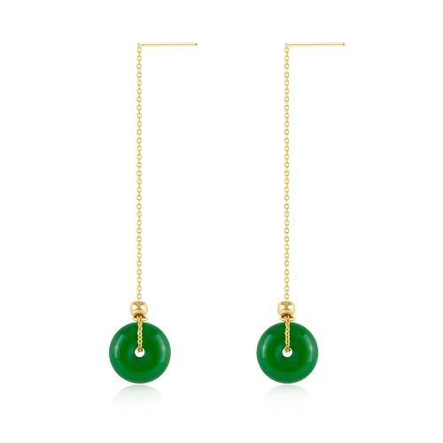 Natural Hetian Jade Donuts Pendant Earrings, Minimalist Green Jade Drop Earring Good Luck Dangle Earrings Mom Gift Jewelry