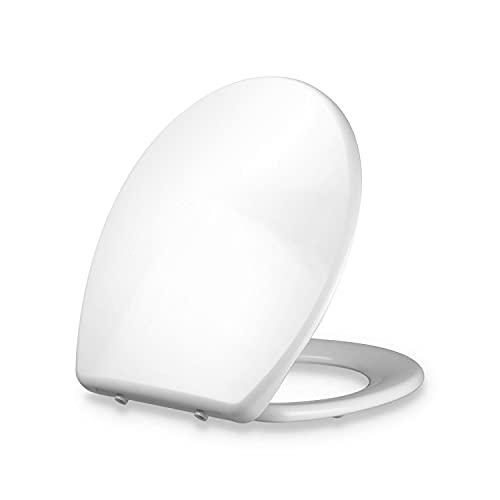DOMBACH Celesto - Tavoletta Premium per WC, Tavoletta Antibatterica con Abbassamento Automatico Softclose, Sedile Ergonomico Rimovibile, in Duroplast e Acciaio Inox, Ovale, 45x37,6x5,5 cm, Bianco