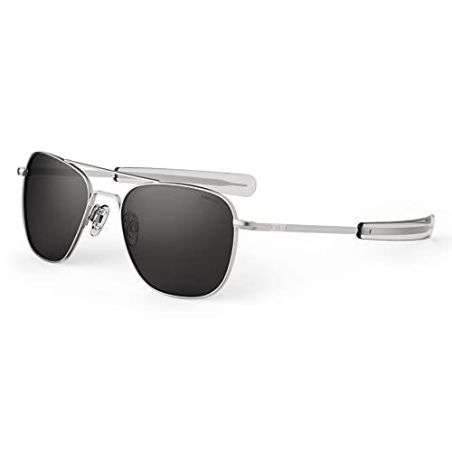 Randolph USA | Matte Chrome Classic Aviator Sunglasses for Men or Women Polarized 100% UV