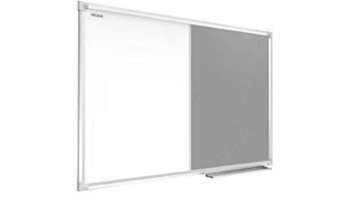 ALLboards Kombitafel 2 in 1 Magnettafel & Grau Filz-Pinnwand mit Aluminiumrahmen 110x80cm, Textiltafel Whiteboard