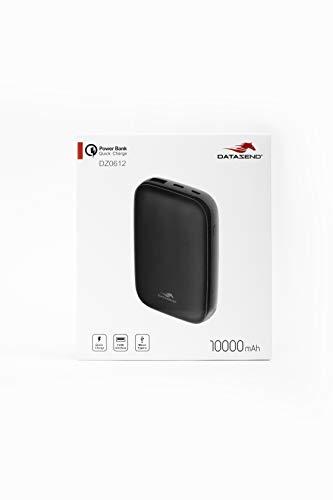 DATAZEND Powerbank 10000 mAh QC 3.0 + PD snelladen 2 poorten 1 USB + 1 Type-C Zwart Externe oplader met hoge capaciteit voor smartphone en USB-apparaten compatibel met iPhone Xiaomi Huawei Samsung iPad