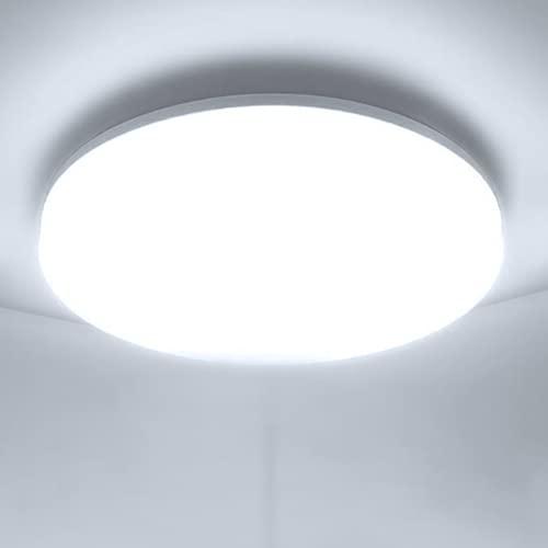 LED Lámpara de Techo Moderna 48W Plafon LED de Techo Ketom Blanco Frío 6500K 4320LM LED Plafón, Ultra Delgado IP44 Luz de Techo Para Dormitorio Baño Cocina Pasillo Comedor Sala, Ø30cm