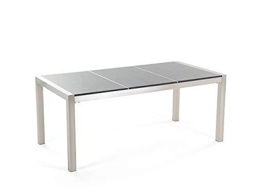 Beliani Klassischer Gartentisch 3 Platte Granit poliert grau 180 cm Grosseto