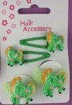 Sleepies click clack hair clip slides with ponies and matching ponios set[Green] by NA