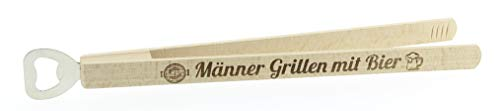 KMC Austria Design Grillzange mit Flaschenöffner · Grillwerkzeug · Grillzubehör · Hochwertiger Brandstempel Männer Grillen mit Bier · Geschenke für Männer · Kombi-Grillzange aus Holz