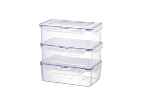 LOCK & LOCK Juego de 3 recipientes apilables de plástico transparente de alta calidad, sin BPA, antigoteo, rectangulares, 3 x 1 L