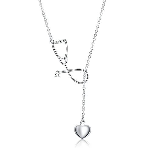 DOOLY Nuevo Collar con Colgante de Estetoscopio médico de Plata de Ley 925, Collar con corazón, médico, Enfermera, médico para Mujer, joyería Creativa, GIF