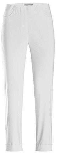 Stehmann IGOR-680 14060-100, sportive Damenhose mit aufgesetzten Taschen und Aufschlag, 6/8 Länge-Co, Größe 42, Farbe Weiß