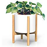 Ecbanli 10.5 Inch Bamboo Plant Stand, Mid-Century Modern Planter Holder (Plant and Pot Not Included)