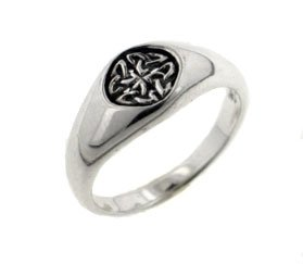 Small Sterling Silver 7mm Celtic Knot Emblem Signet Band Ring Size 10(Sizes 4,5,6,7,8,9,10,11,12)