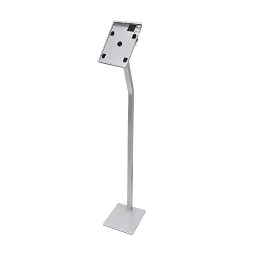 Soporte para iPad de bicicleta estática de hierro plateado, soporte de suelo para iPad 12,9 de altura ajustable para iPad 1, 2, 3, 4 / Ipad Air Pro / tabletas Samsung / Kindle de 4,7 a 12,9 pulgadas