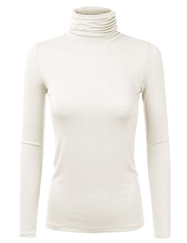 Doublju Soft Knit Turtleneck TShirt Top with Shirring Detail for Women with Plus Size Ivory L