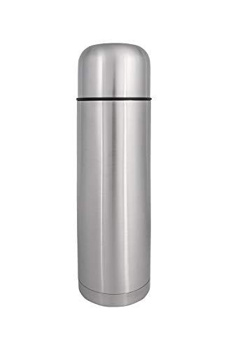 Wenco Isolierflasche, Füllmenge: 1 Liter, Höhe: 33 cm, Gebürsteter rostfreier Edelstahl, Silber, 515276, 1 l