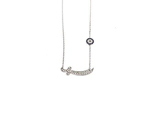 Remi Bijou 925 Silber Halskette Kette + Anhänger 'Zülfikar' oder 'Schwert' - Zirkonia Strass - Nazar Auge - Ali Aleviten