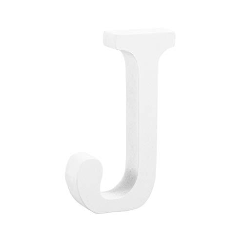 STOBOK Craft Letras de madeira branco em pé Alfabeto de madeira G Marquesa Letra Letra Placa Peças de artesanato para Dia dos Namorados Decoração de casamento 8 cm, J, 6 x 1.2 x 8cm, 1