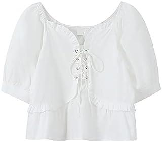 Fyuanmeiinsdxnv Womens tops summer Summer Sweet Shirt Women's Lame Collar Short-sleeved Solid Colour Blouse Summer Lace-Up...