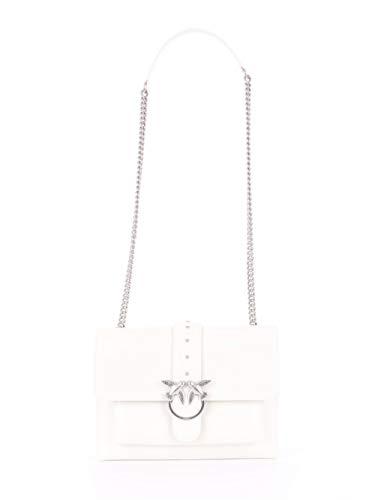 Pinko Love Big Soft Simply Cl Vitell, Borsa a Tracolla Donna, Bianco (White), 0.1x22x29.2 cm (W x H x L)