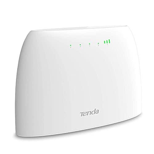 Tenda 4G03 4G LTE WLAN Router für SIM-Karten, 300 Mbit/s CAT4, Beamforming, Ethernet-LAN, Kein SIM-Lock, Plug & Play, IPV6,LAN/WAN-Port, Gast-Netzwerk