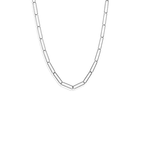 Cadena de plata de ley 925 21 chapada en rodio con clip de papel de 55,8 cm, cierre de mosquetón, hecho en Ita Jewelry Regalos para mujeres