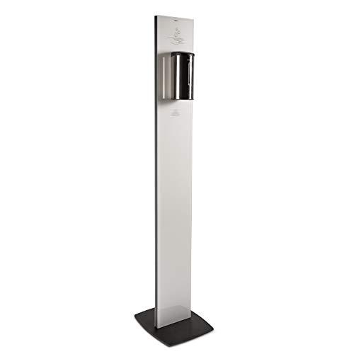 SANITA Dispensador de vidrio de pie con sensor para gel higienizante blanco - columna de higiene funciona sin contacto y con una capacidad de 700ml | Sensor de desinfección de manos - VIDRIO BLANCO