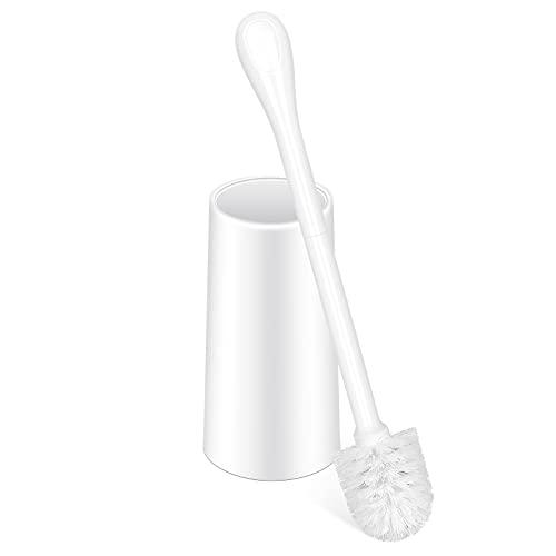 Toilet Brush and Holder,Toilet Bowl Brush Durable Brush Head Dense Dristles Deep Cleaning Stable Drip-Proof Base Non-Slip Long Handle White