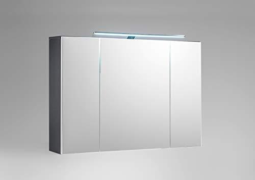 Wohnorama Bad-Spiegelschrank inkl LED Beleuchtung Manhattan von Bega Weiss HG/Grau by