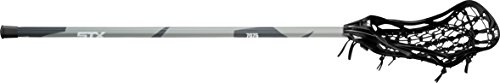 STX Lacrosse Women's Fortress 300 Complete Stick with Head, Handle & Strung, Black/Grey