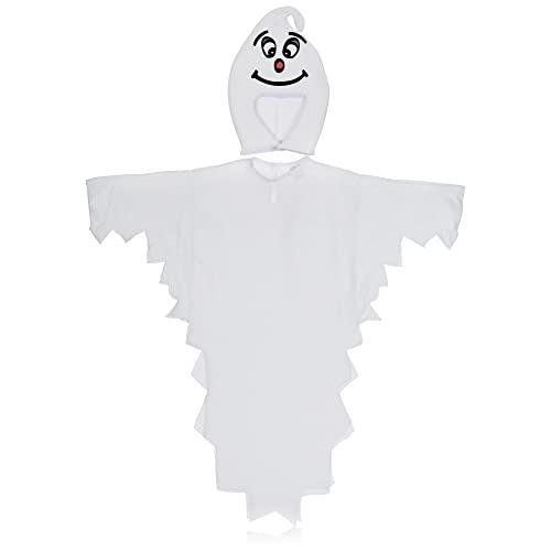 com-four® Costume da Fantasma per Bambini - Halloween Costume da Fantasma con Cappuccio - Costume da Carnevale per Bambini - Costume da Fantasma per Ragazzi e Ragazze - 104 cm (104cm)