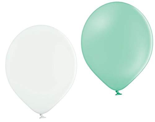 Ballonheld 50 Bio Luftballons je 25 Mint & weiß Qualitätsballons 27 cm Ø (Standardgröße B85) biologisch abbaubar, heliumgeeignet Dekoballons