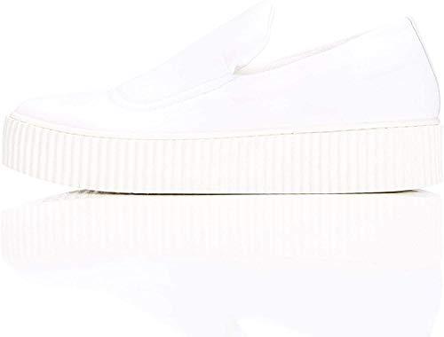 find. Plateau Schuhe Damen Slipper mit gerippter Sohle und dekorativer Naht, Weiß (White), 37 EU