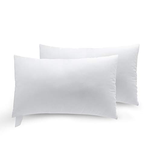 Pillow Throw Inserts Polyester Square Form Decorative Pillow, Cushion,Sham Stuffer - 2-Pack (12x20 in)