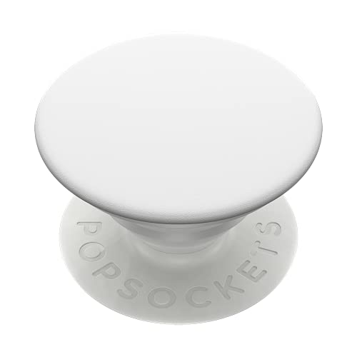 PopSockets PopGrip: Phone Grip and Phone Stand, Collapsible, Swappable Top, White