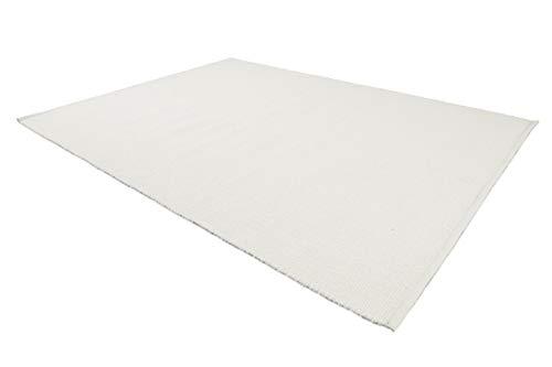 LIFA LIVING Handangefertigter Wollteppich im Vintagestil, 70% Wolle und 30% Baumwolle 140 x 200cm (Weiß)