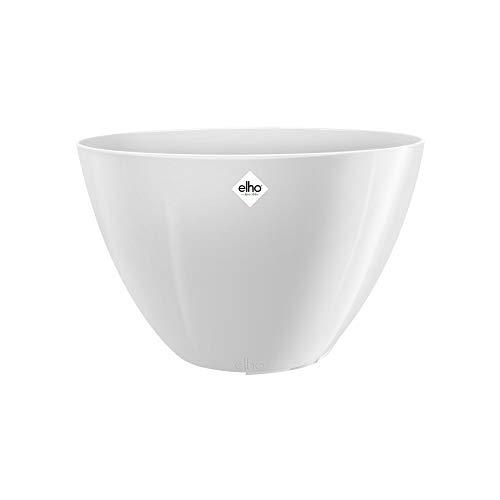 elho brussels Diamond Oval High 36 Pflanzengefäß – Ovaler Blumentopf in Weiß – Stilvolle Dekoration für den Indoor-Bereich – ca. L 17,9 x W 35,9 cm x H 23,5 cm