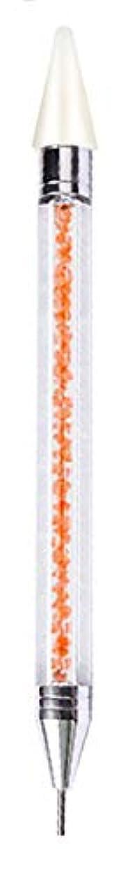 稼ぐライターグローピックアップペン ラインストーン ドットペン ネイルアートパーツマジックペン デコ電 ネイルデコ用 ネイルサロン【ダブルヘッド】【全4色】 (オレンジ)