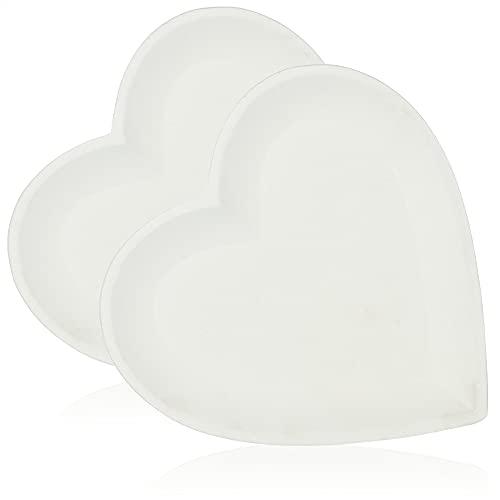 com-four® 2X Dekoplatte in Herzform - dekorativer Schale aus mitteldichter Holzfaserplatte - Herzplatte für Kerzen und Raumschmuck (weiß - klein 2X)