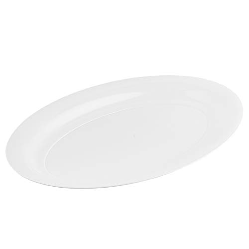 Plasticpro Plastic Oval Serving Trays - Serving Platters Oval 11 X 16 Disposable Party Dish White Pack of 4