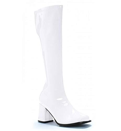 "GOGO, 3"" Stretch Knee High Boots, 7, White PU"
