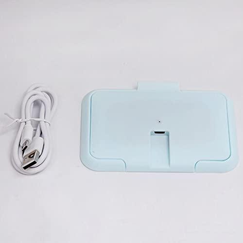 MONLEYTA Calentador de toallitas para bebés USB Calentador de toallitas para bebés Calentador térmico Dispensador de Toallas húmedas Calientes Servilleta Caja de calefacción Cubierta Azul
