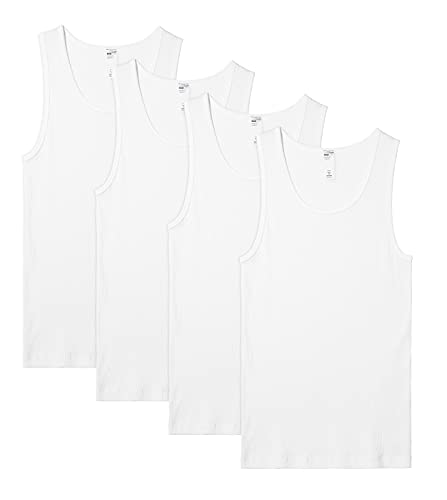 LAPASA Pack de 4 Camiseta de Tirantes Deportivas Hombre, Camiseta sin Mangas 100% Algodón de Canalé para Gimnasio y...