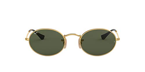 Ray-Ban RB3547N Oval Flat Lenses Sunglasses, Gold/Green, 51 mm