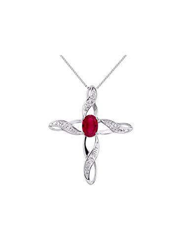 Diamond & Ruby Cross Pendant Necklace Set In White Gold Plated or Yellow Gold Plated Silver