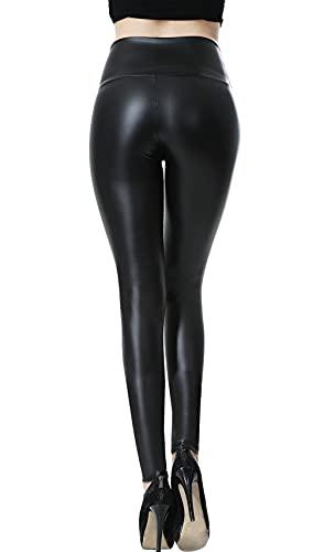 Everbellus Mujeres PU Leggins Cuero Skinny Elásticos Pantalones Negro L
