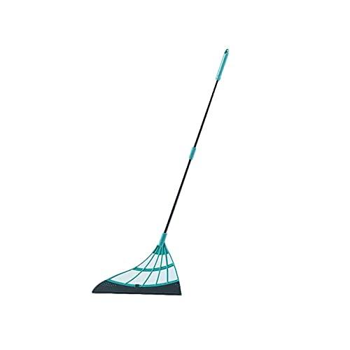 GSJDD Broom mágica Multifuncional, limpiaparabrisas de la Escoba de Silicona 2 en 1 en 1indoor, con escobilla de Goma y Mango, para Limpiar el Cabello Barrido de Agua Que raspa el trapeador-Green