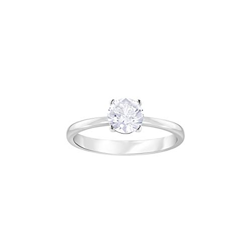 Swarovski Women's Attract Ring, Brilliant White Crystal in a Stunning Rhodium Plated Band, Size 51, from the Swarovski Attract Collection