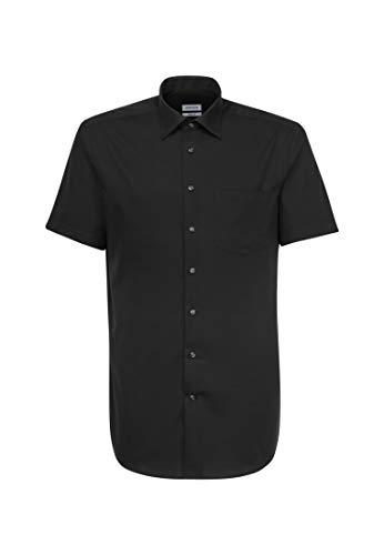 Seidensticker Herren Business und Freizeit Hemd Modern Fit – Bügelfreies, kurzärmliges Hemd mit Kent Kragen – Kurzarm – 100% Baumwolle, Schwarz (Schwarz 84), 44 cm